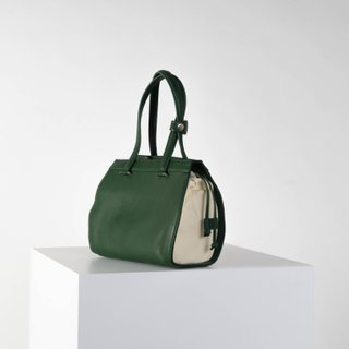 Vecto Gusset Bag in Emerald with Cream Gusset