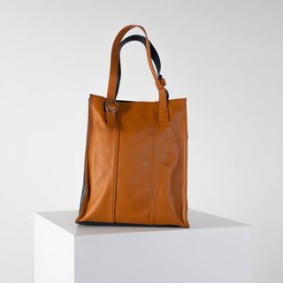 Opus laptop tote in tan and navy