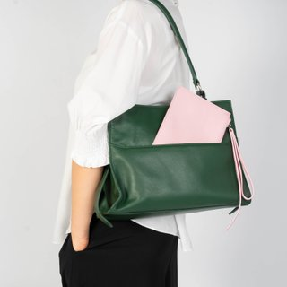 Celo Shoulder Bag in Emerald with Coral Pouch